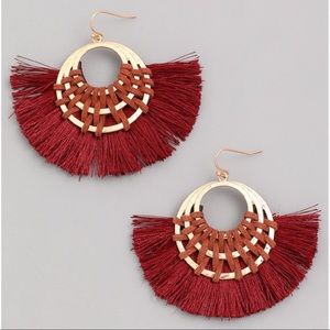Jewelry - NEW! Burgundy Triple Hoop Tassel Fan Hoop Earrings